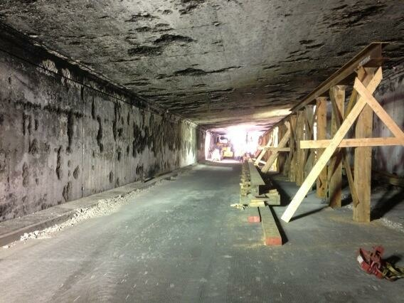 Temporary support structure underneath I-5 N on SR-2, where a tanker truck crashed on Saturday.