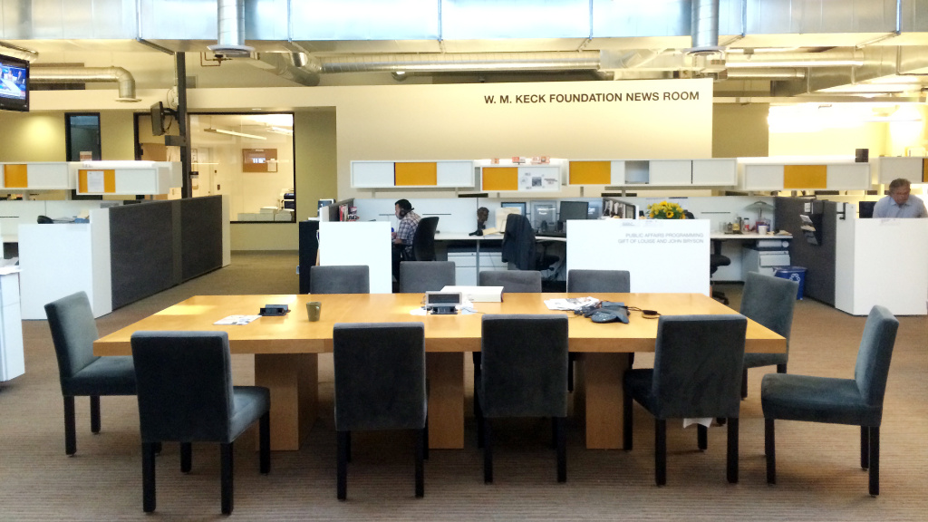 A look inside the KPCC newsroom.