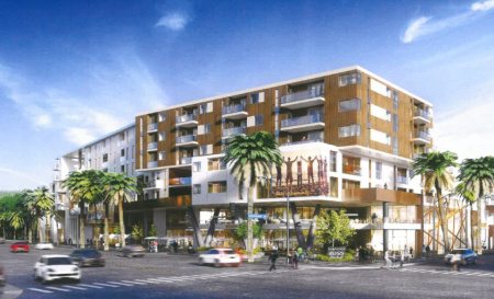 """A rendering of the proposed 577-unit apartment project, which Los Angeles City Council President Herb Wesson says would drive up rents and """"displace lifelong community residents."""