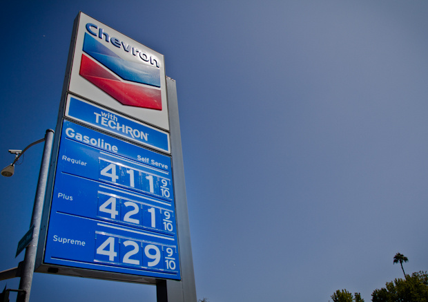 Gas prices at a Chevron station in Pasadena, CA. In Los Angeles, prices has climbed well above $4 a gallon and are closing in on $4.20.