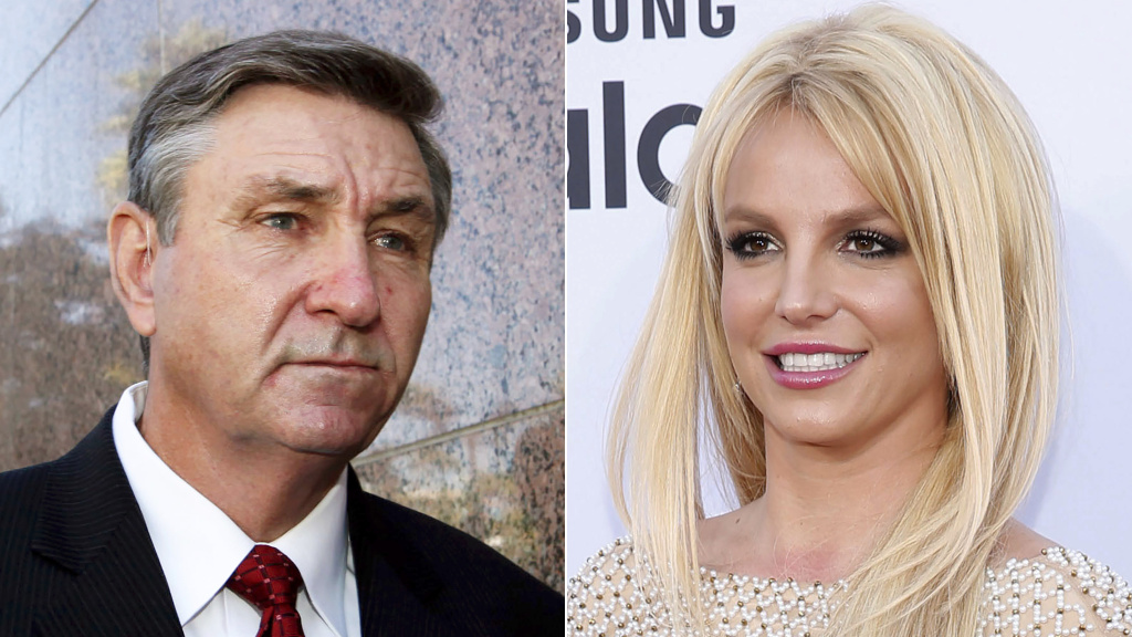 A judge has denied Britney Spears' request to remove her father, Jamie Spears (left), as a co-conservator.
