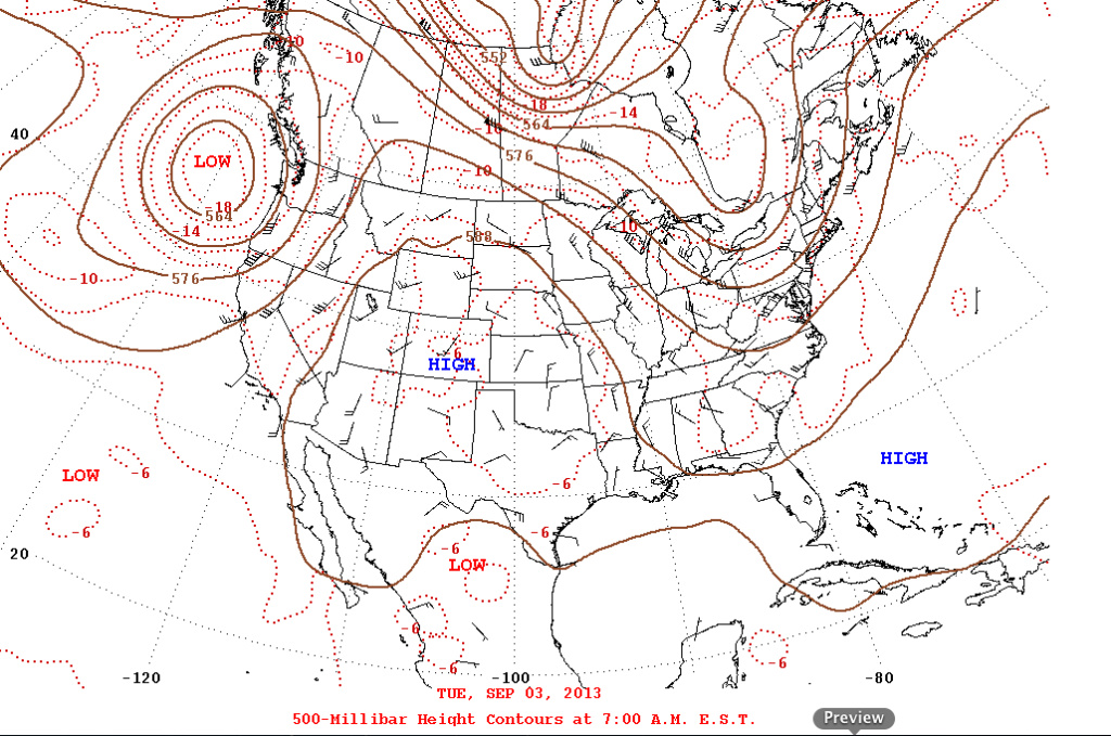 An image of the high pressure zone about to move over Southern California.