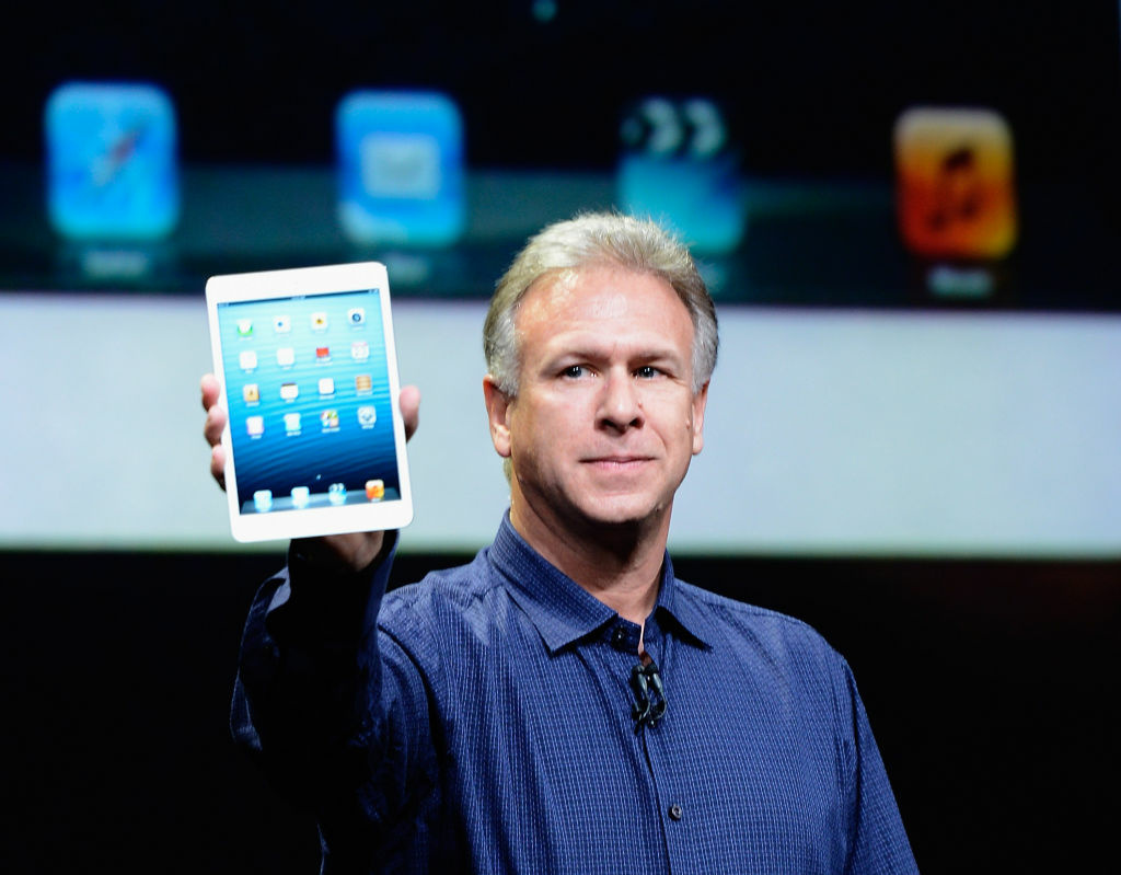 SAN JOSE, CA - OCTOBER 23:  Apple Senior Vice President Phil Schiller announces the new iPad Mini. It's smaller and lighter and $329 for a 16GB WiFi-only version. And it arrives just in time for the holidays!