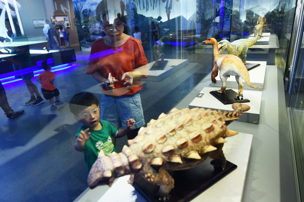 A child looks at dinosaur models at an exhibition at the Zhejiang Natural Museum in Hangzhou in China's eastern Zhejiang province on International Children's Day on June 1, 2017.