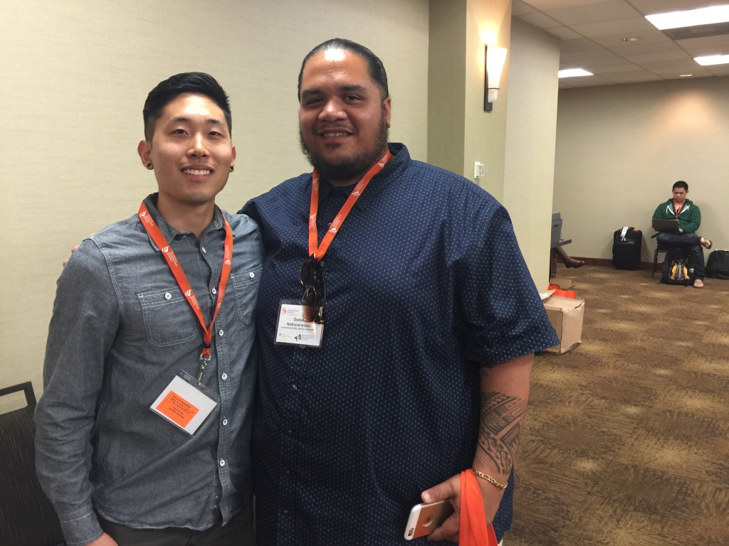 Kyle Tsukahira, left, and Daniel Naha-Ve'evalu are among the Asian Americans and Pacific Islanders attending the Advancing Justice Conference Wednesday in downtown Los Angeles.