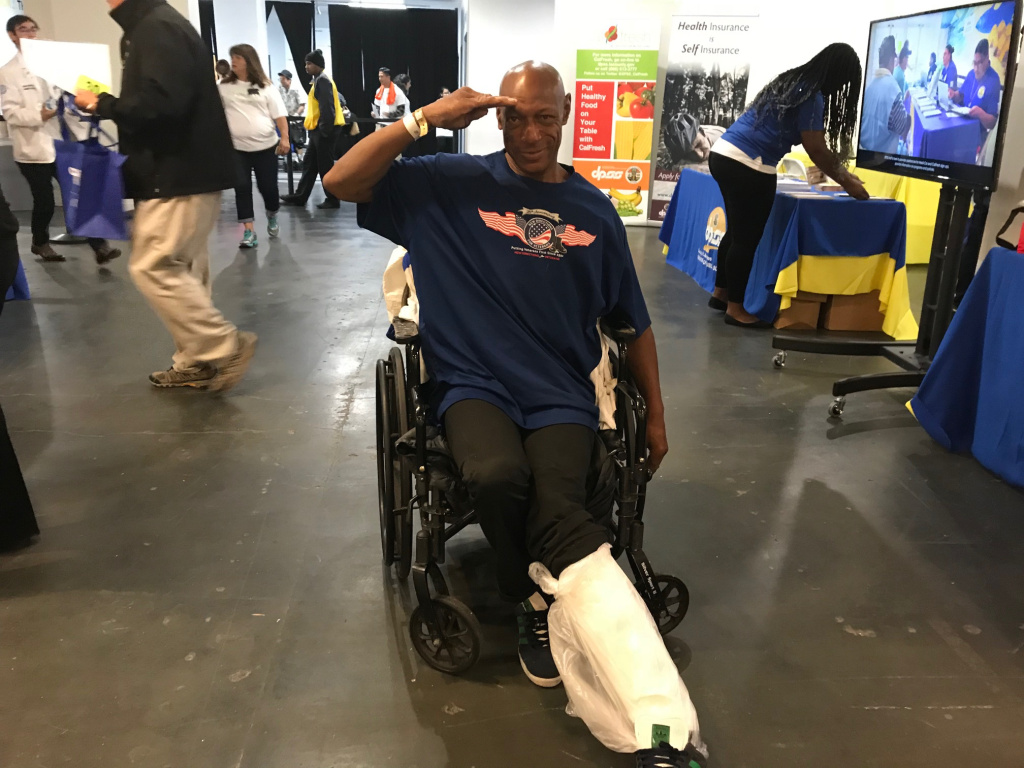 Darryl Edwards says he's a homeless Vietnam Vet. He attended day one of CareHarbor's free clinic.