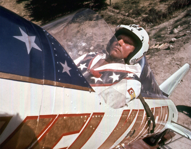 Evel Knievel talks with the press. Taken from the new documentary,