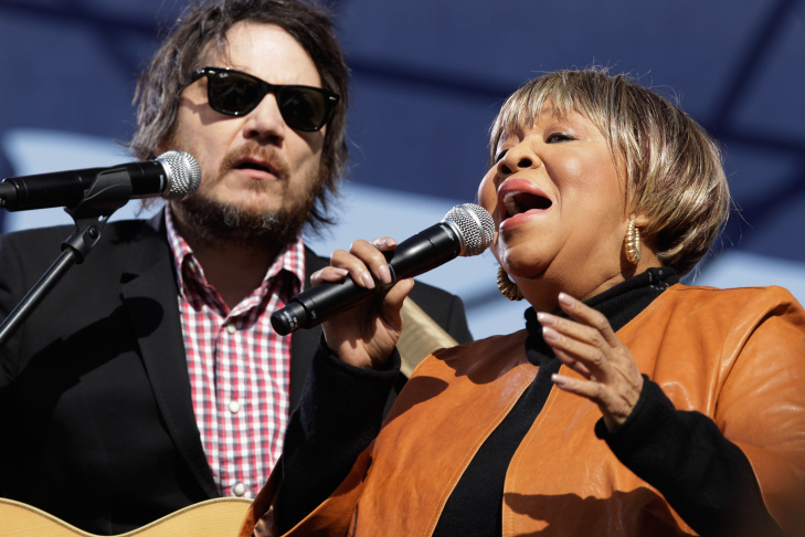 Singers Mavis Staples (R) and Jeff Tweedy perform during the Comedy Central 'Rally to Restore Sanity And/Or Fear' on the National Mall October 30, 2010 in Washington, DC. Tens of thousands of people filled the east end of the mall to see comedians, musicians, sports stars and others perform during the televised event.