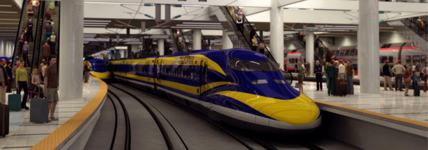 A rendering of what a high-speed rail train would look like traversing California's desert.