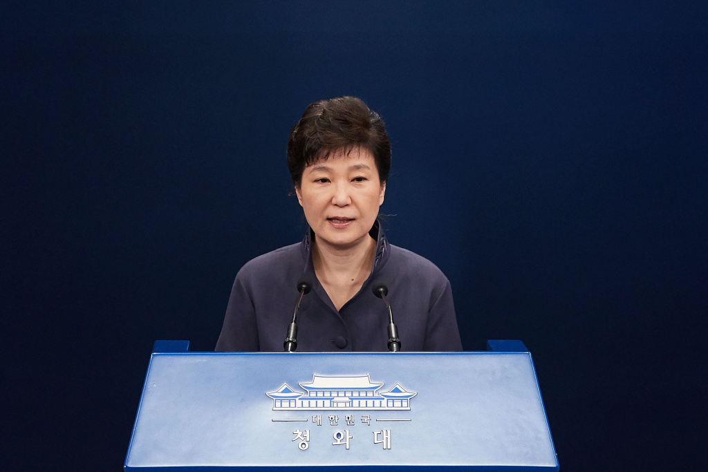 SEOUL, SOUTH KOREA - OCTOBER 25:  In this handout photo released by the South Korean Presidential Blue House, South Korea's President Park Geun-Hye speaks as she offers a public apology at the at the presidential blue house on  October 25, 2016 in Seoul, South Korea. South Korean President Park Geun-hye has offered a public apology after a South Korean TV network reported a scandal that Park had a tie with a woman named Choi Soon-sil, who has no official governmental position, was informally involved in editing some of Park's key speeches.  (Photo by South Korean Presidential Blue House via Getty Images)