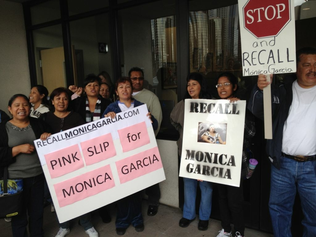 A few dozen people rally outside L.A. Unified's downtown headquarters to announce their campaign to recall school board president Monica Garcia.