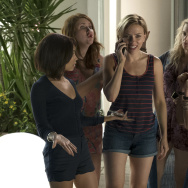 "(L-R) Zoe Kravitz, Jillian Bell, Scarlett Johansson, Kate McKinnon and Ilana Glazer in Columbia Pictures' ""Rough Night."""