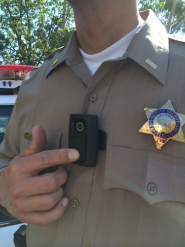 One of the four types of body cameras being tested by the Los Angeles County Sheriff's Department