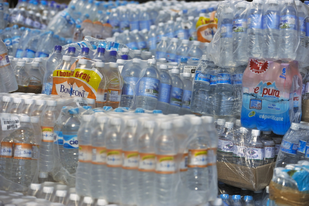 Bottled water to be sent to Haiti on January 15, 2010 at the Zocalo Square, in Mexico City.