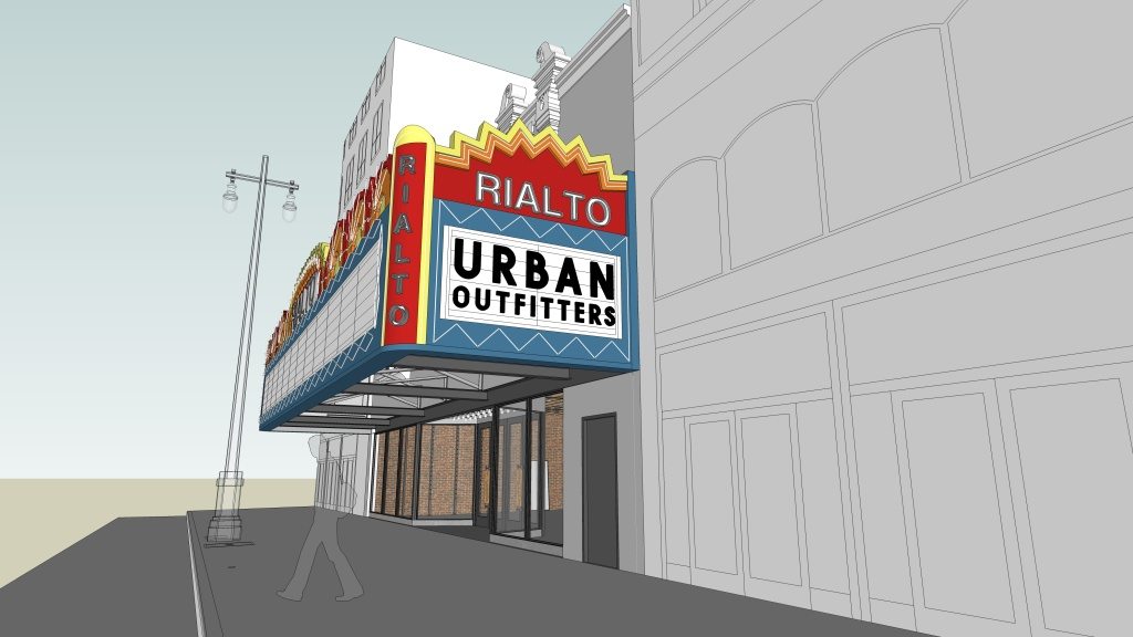 Urban Outfitters plans to open a clothing store inside the Rialto Theatre in Historic Downtown LA next year. This is rendering of what the outside of the store will look like.