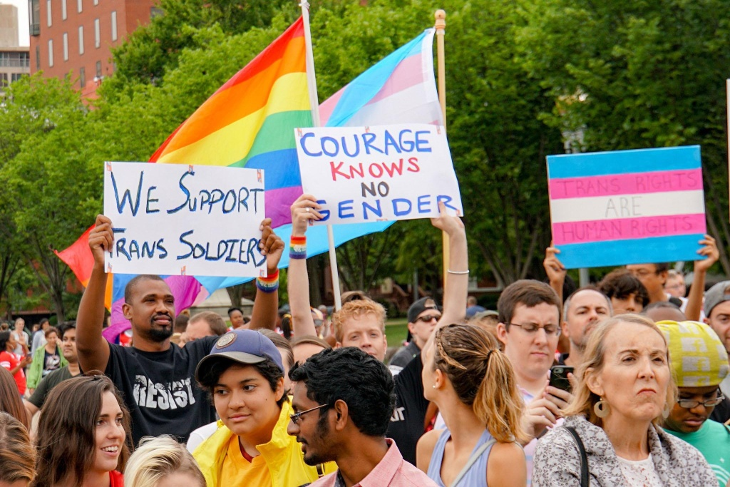 Protesters opposed to the Trump Administration's military transgender ban march in Washington, D.C. in a July 2107 demonstration.