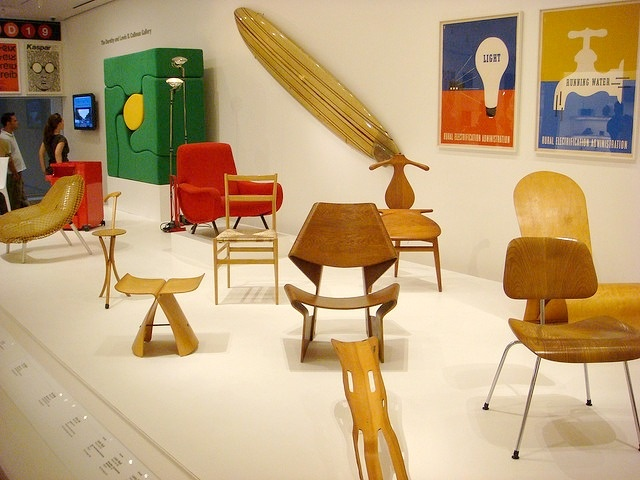Eames chairs and other modern furniture at the Museum of Modern Art, New York City, 2007.