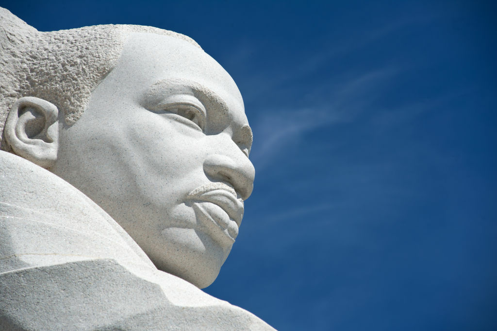 The statue of civil rights leader Martin Luther King, Jr. is seen at the MLK Memorial September 20, 2012 in Washington, DC. King was an American clergyman, activist, and prominent leader in the African-American Civil Rights Movement. He is best known for his role in the advancement of civil rights using nonviolent civil disobedience.