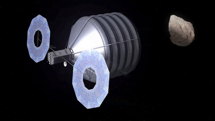Concept of Asteroid Capture in Progress : This asteroid mission brings together the best of NASA's science, technology and human exploration efforts to achieve the President's goals faster and at a lower cost to taxpayers than continuing with business as usual. This image shows what capturing an asteroid could look like. NASA will enhance its detection and characterization capabilities, accelerate solar electric propulsion technology development and begin the design of the overall mission.