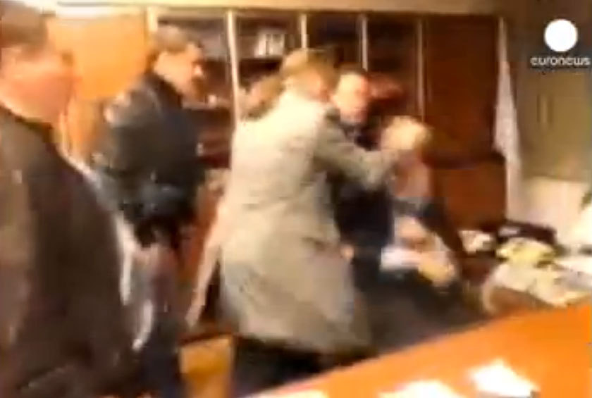 Last week, a YouTube video of a far-right member of Ukraine's parliament roughing up the top executive of the state television network went viral.