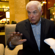 Panama's former President Ricardo Martinelli answers questions during an interview at a hotel in Guatemala City in January.