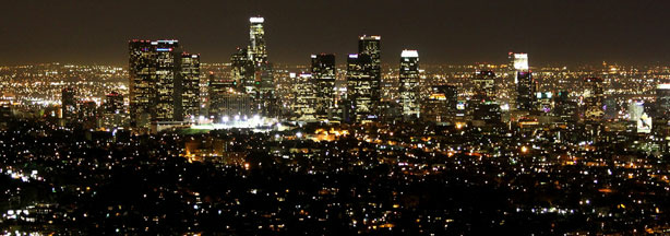File photo: Los Angeles downtown city skyline at night as seen from the Griffith Observatory