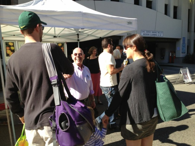Democratic incumbent Congressman Henry Waxman spent Sunday morning campaigning at Westside farmers markets.