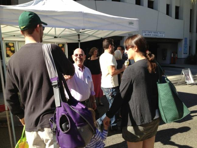 Democratic incumbent Congressman Henry Waxman spent Sunday morning campaigning at Westside farmers markets.