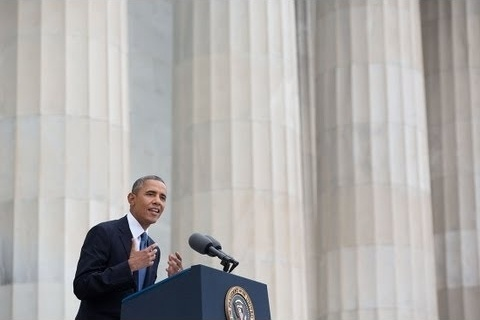 President Obama delivers remarks at the Let Freedom Ring ceremony on the steps of the Lincoln Memorial to commemorate the 50th Anniversary of the March on Washington for Jobs and Freedom. August 28, 2013.