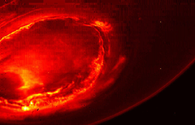 This infrared image from Juno provides an unprecedented view of Jupiter's southern aurora. Such views are not possible from Earth.