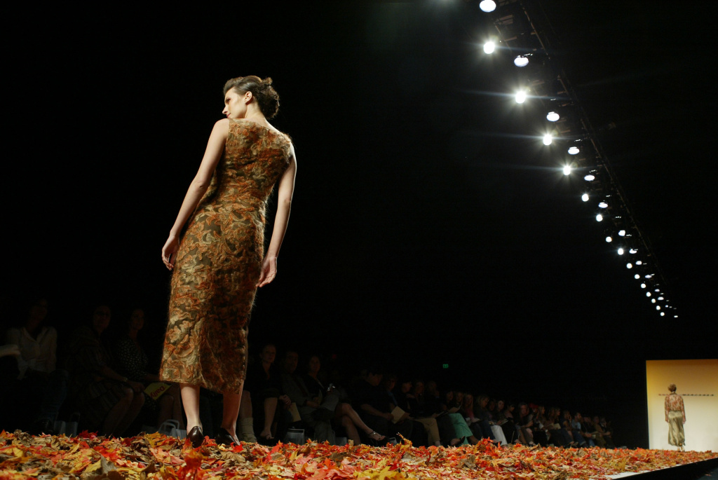 A model walks the runway during the Mercedes Benz Fashion Week in Smashbox Studios in Culver City in April 2004.