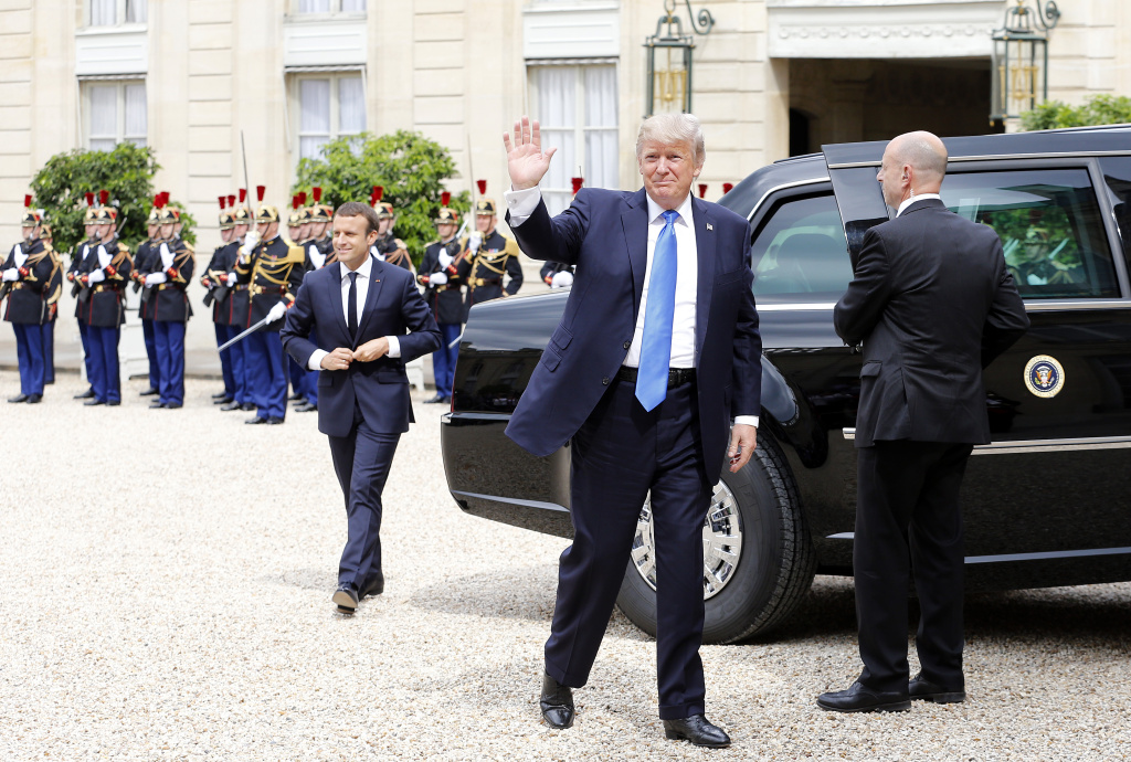 PARIS, FRANCE - JULY 13:  US President Donald Trump arrives for a  a meeting with French President Emmanuel Macron at the Elysee Presidential Palace on July 13, 2017 in Paris. (Photo by Thierry Chesnot/Getty Images)