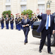 US President Donald Trump waves as he arrives for a  a meeting with French President Emmanuel Macron at the Elysee Presidential Palace on July 13, 2017 in Paris, France.