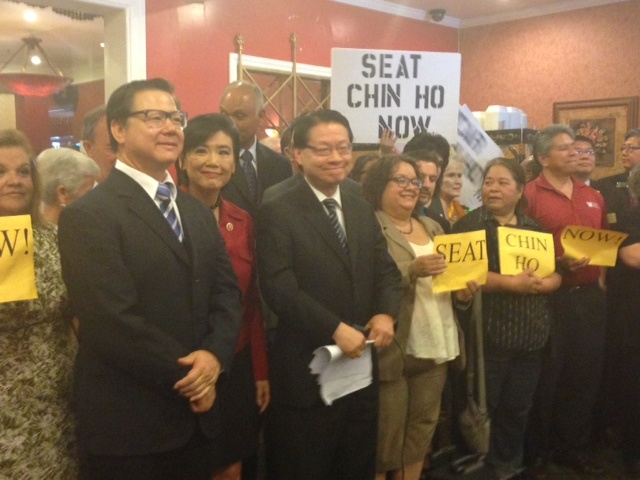 Chin Ho Liao, left, will be seated on the San Gabriel City Council despite questions about his residency.