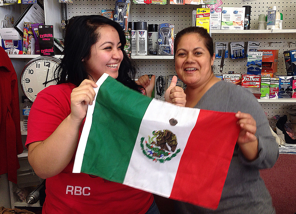 Stephanie Granados (left) and her mother Maria Morales (right) will be rooting for Mexico in its Tuesday match-up with Costa Rica.