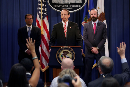 Deputy Attorney General Rod Rosenstein Announces Indictment Of 12 Russian Military Officers For DNC Hacking