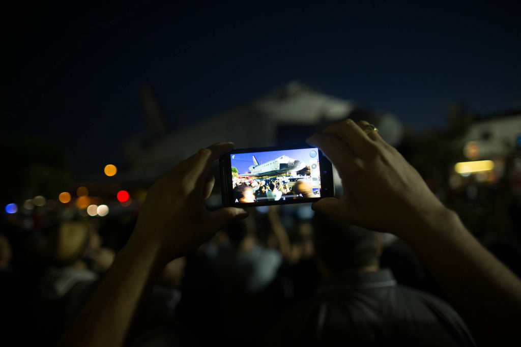 A spectator took a picture of the shuttle with his iPhone on Saturday as Endeavour crawled north on Crenshaw Boulevard.