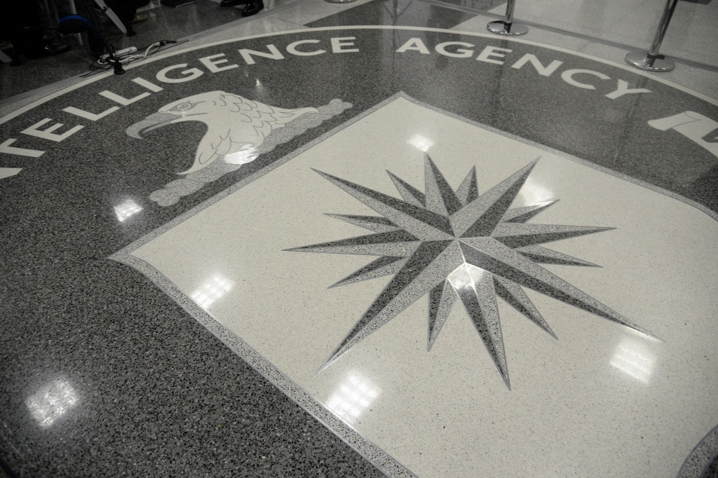 The logo of the CIA is seen during a visit ofUS President Donald Trump the CIA headquarters on January 21, 2017 in Langley, Virginia.