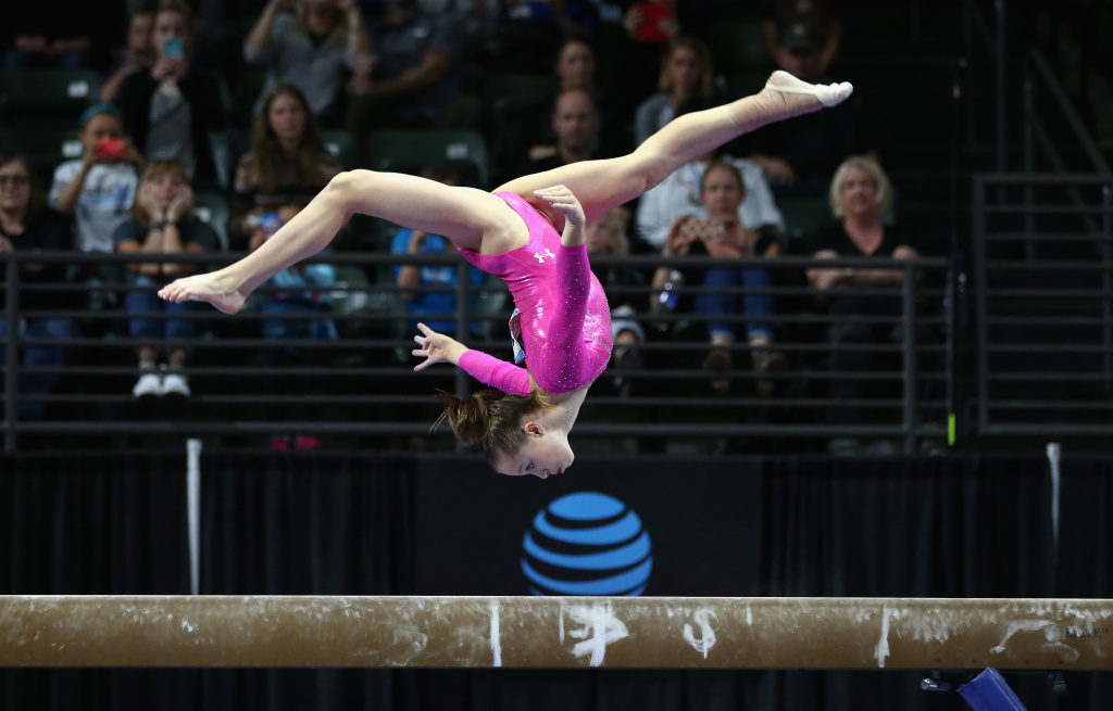 EVERETT, WA - APRIL 10:  Ragan Smith competes on the balance beam during Day 3 of the 2016 Pacific Rim Gymnastics Championships at Xfinity Arena on April 10, 2016 in Everett, Washington.  (Photo by Ezra Shaw/Getty Images)