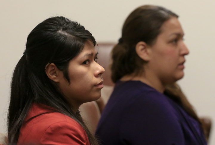 A preliminary hearing continues for (lt to rt) Vanesa Tapia Zavala and Candace Marie Brito in the West Justice Center February 11, 2014 in Westminster, California. The two are charged in the beating death of Kim Pham in front of a Santa Ana nightclub.