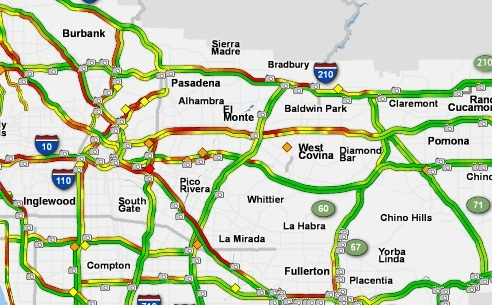 A traffic map of part of Los Angeles, from SigAlert.