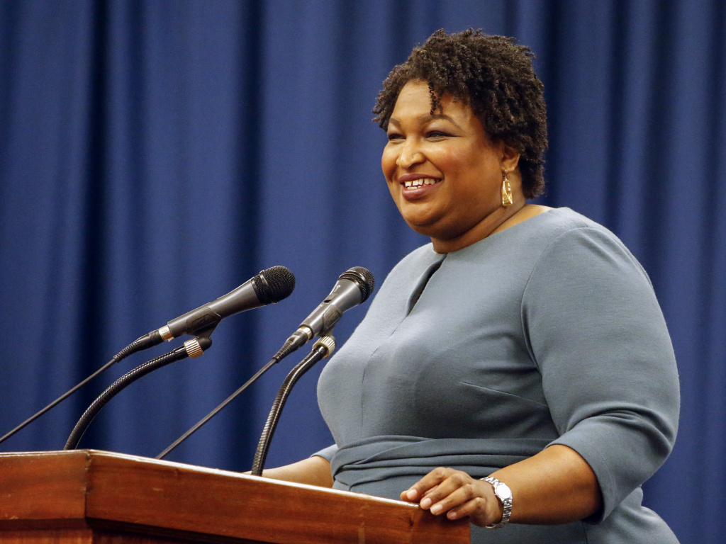 Stacey Abrams speaks at the unity breakfast on March 1 in Selma, Ala.