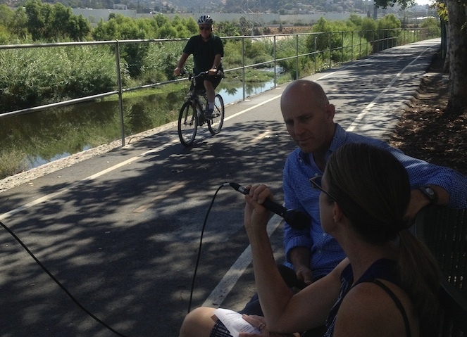 John Horn interviews Cathy Gudis of the Play the L.A. River festival at Marsh Park in the Elysian Valley neighborhood of Frogtown.