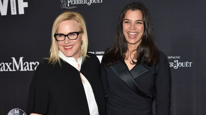 Executive producer Patricia Arquette, left, and filmmaker Kamala Lopez pushed through financial adversity to make
