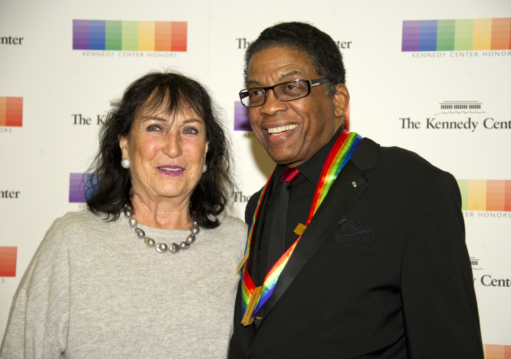 Herbie Hancock and his wife, Gigi Hancock, arrive for the formal Artist's Dinner honoring the recipients of the 40th Annual Kennedy Center Honors on Saturday, December 2, 2017.