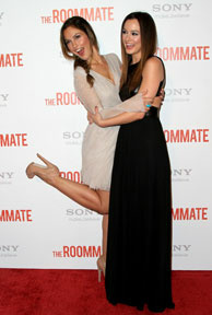 Actresses Minka Kelly (L) and Leighton Meester (R) arrive at the Screening Of Screen Gems' 'The Roommate' on January 23, 2011 in West Hollywood, California.