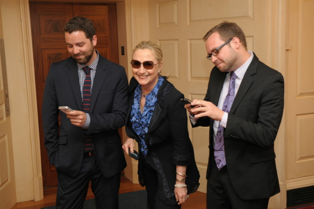 Secretary of State Hillary Clinton with the founders of TextsFromHillaryClinton.com