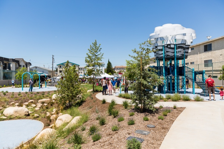 Bicentennial Park was shuttered in the late 1990s for ongoing illicit activity. The tennis court and gazebo space has now been transformed into a park, complete with a playground, a splash pad and 60 newly planted trees.