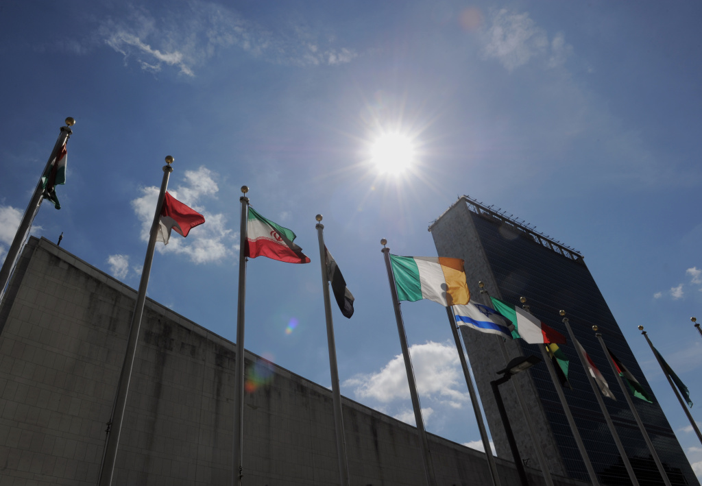 Flags fly outside of U.N. Headquarters.