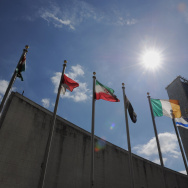 Flags fly outside United Nations headqua